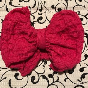 Hot pink crinkle Messy Bow